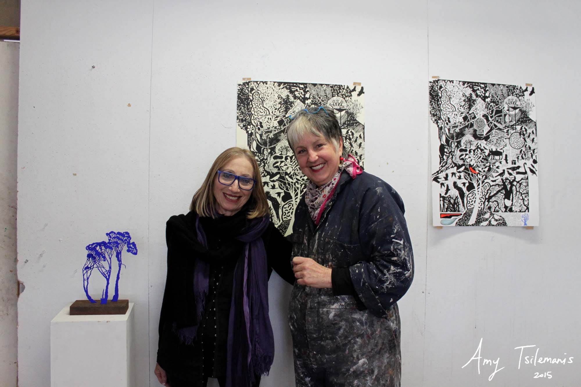 Judy Holding In Her Studio With Dianna Gold (co-curator Of The 37º 48' S: Artists Navigate MELBOURNE Project)