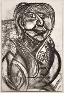 Portrait of Judy Holding by Michael Camakaris, Not titled 2014, charcoal on paper, 56 x 38cm, Represented by Arts Project Australia.