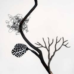 Barker Creek Tree (detail), Mixed Media On Steel, 2016