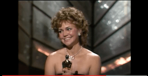 Sally Field accepting her Best Actress Oscar for Places in the Heart.