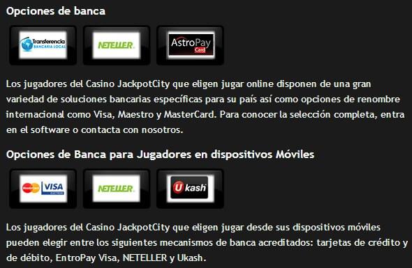 opciones de banca casino jackpotcity