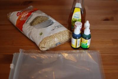 Benodigdheden gekleurde rijst