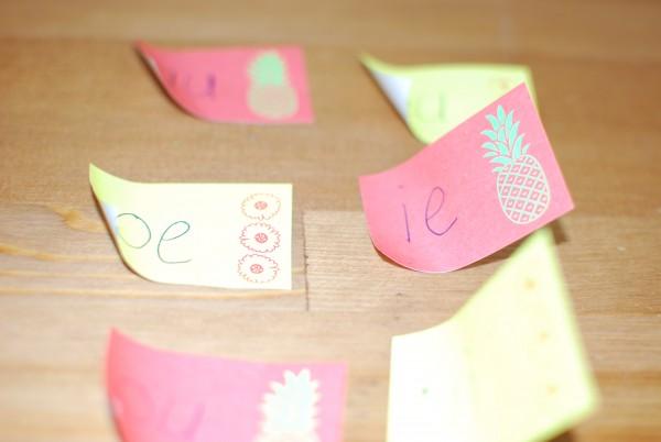 Schrijf de twee teken klanken op de sticky notes