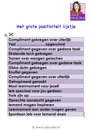 Het grote positiviteit lijstje
