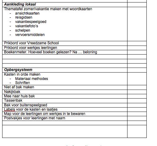 Checklist inrichten klas
