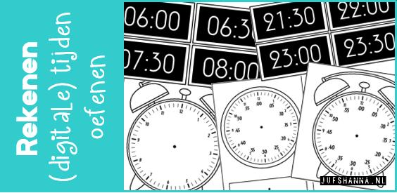 Verwonderlijk JufShanna.nl   Klokkijken: (digitale) tijden oefenen GI-81