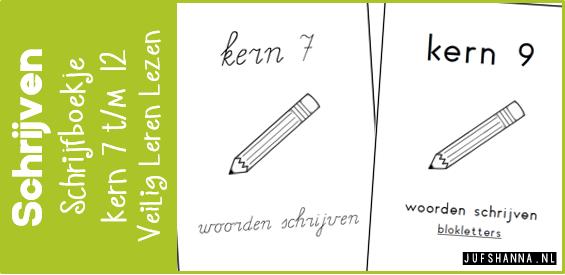 Verwonderlijk Veilig Leren Lezen   Schrijfboekje per kern (7 t/m 12) - Juf Shanna KY-44