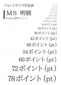 windows標準フォント MS明朝