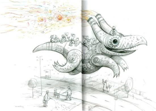 """Shaun Tan: """"reading"""" (aus """"Der Vogelkönig und andere Skizzen"""")"""