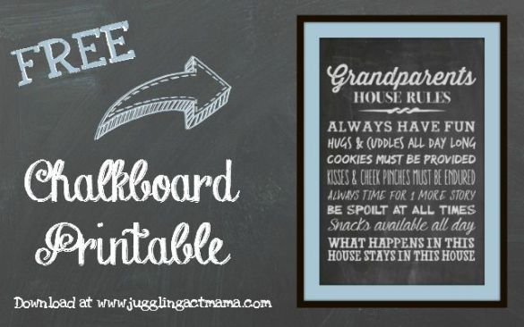 Grandparent s House Rules Chalkboard Printable   Grandparents Day     Grandparents House Rules   Free Chalkboard Printable Download at Juggling  Act Mama