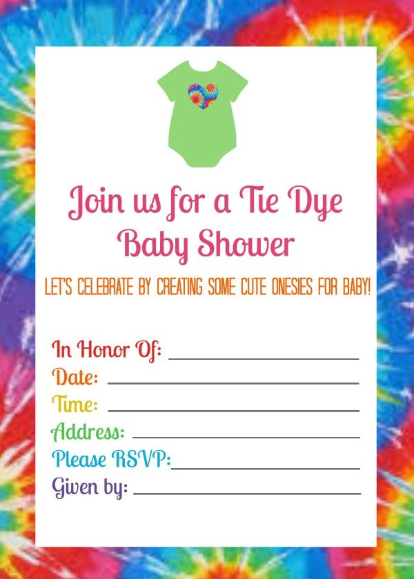 Tie Dye Baby Shower Invitation Free Printable From Www