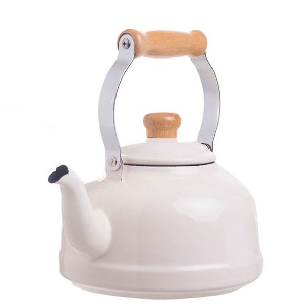 Fujiharo-White-Enamelled-tea-pot-wooden-handle