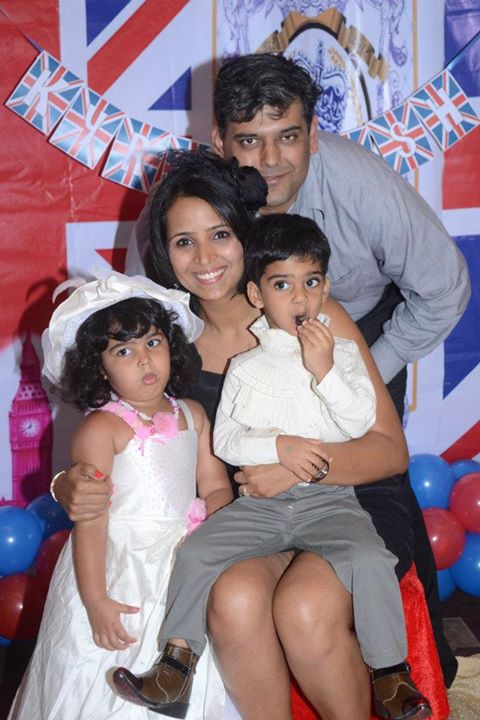 Shilpa with her husband and kids