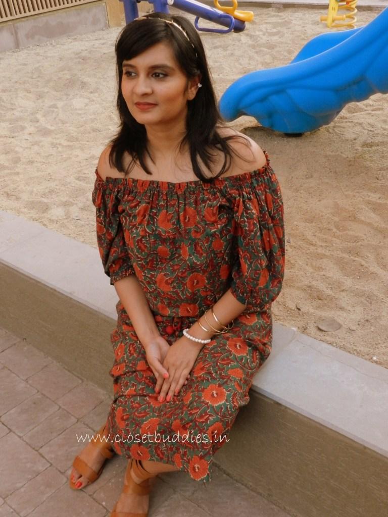 The complete look: Dress: Khara Kapas Headband: Limeroad Earcuff, Bangles & Footwear: Forever 21