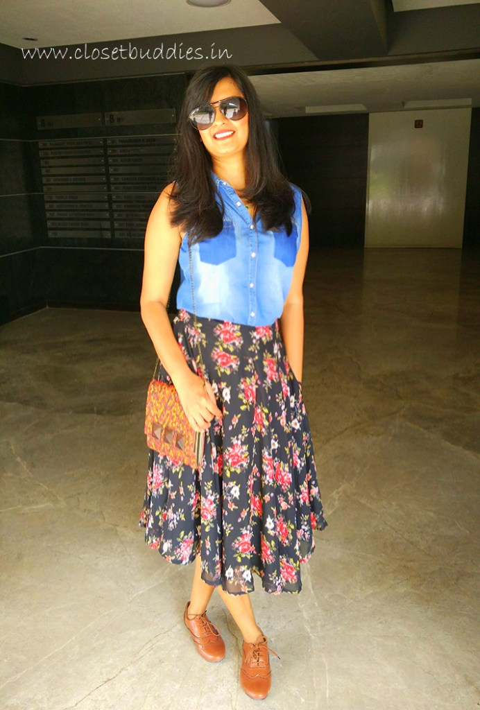 This is how I dressed for the meeting: Denim Shirt: Shoppers Stop Skirt: Stalk buy Love Sling: Kokkommo Accessories Oxfords: Street Style Store
