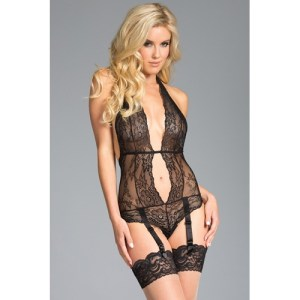 Be Wicked - Lace Garter Body With Open Back