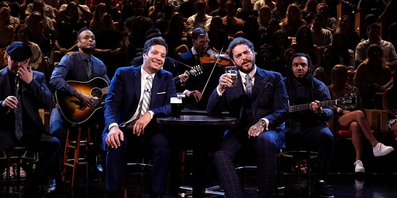 Post Malone Plays Beer Pong With Jimmy Fallon