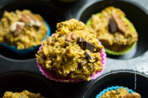 Mini Gluten free, vegan Chocolate Pumpkin Pie Muffins