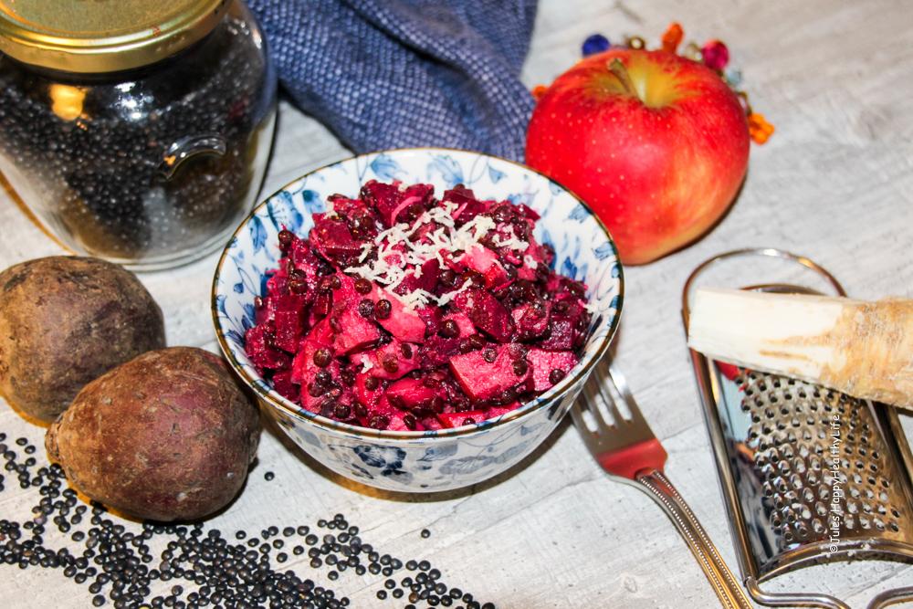 Rote Bete Salat mit Apfel und Belugalinsen und frischem Merrettich - Jules HappHealthyLife