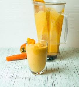 Aus dem Mixer Probiotischer Oranger Smoothie vegan, glutenfrei