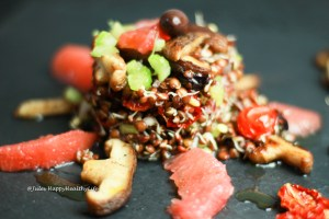 Vegan, gluten free Salad with sprouted Lentils
