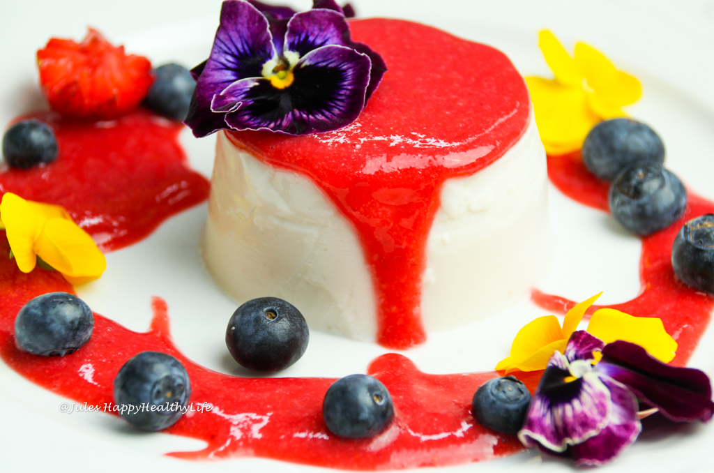 Vegan Coconut Panna Cotta with Strawberry Sauce gluten free