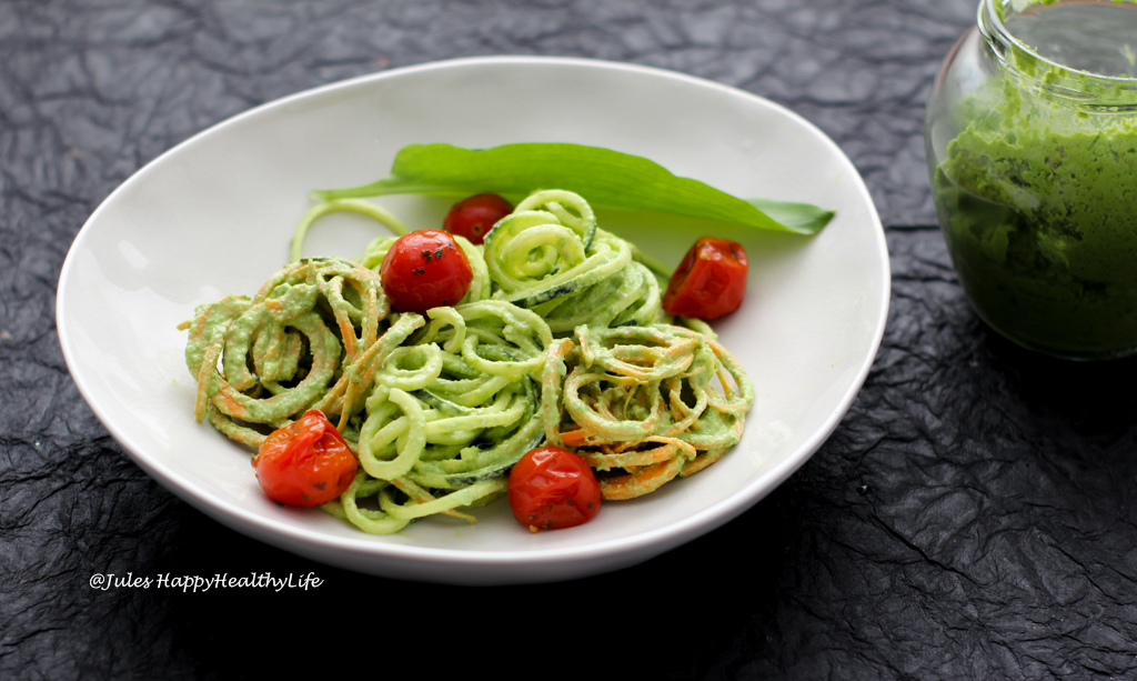 Vegan Wild Garlic Pesto Recipe with Zucchini Zoodles and Tomatoes
