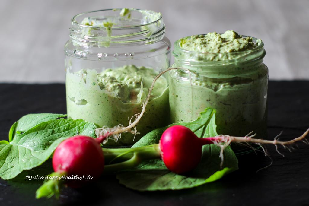 Rezept für veganes Radieschenblätter Pesto glutenfrei