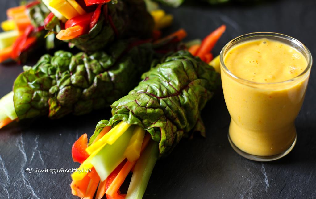 Vegan, glutenfreie Mangold Wraps mit Safran Mango Dip