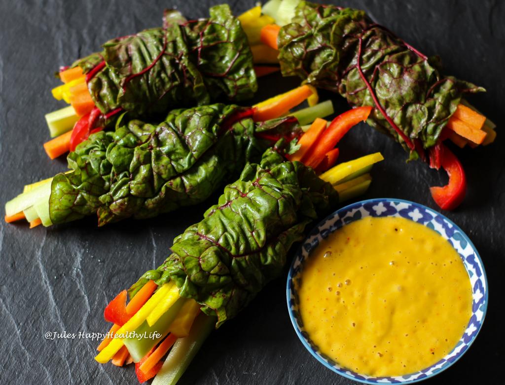 Glutenfreie, vegane Mangold Wraps mit Safran Mango Dip Rezept