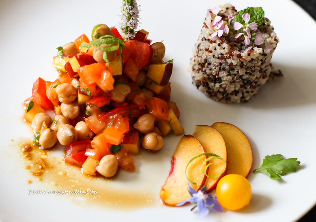Recipe for gluten free, vegan Chickpea Peach Salad with Ginger Dressing
