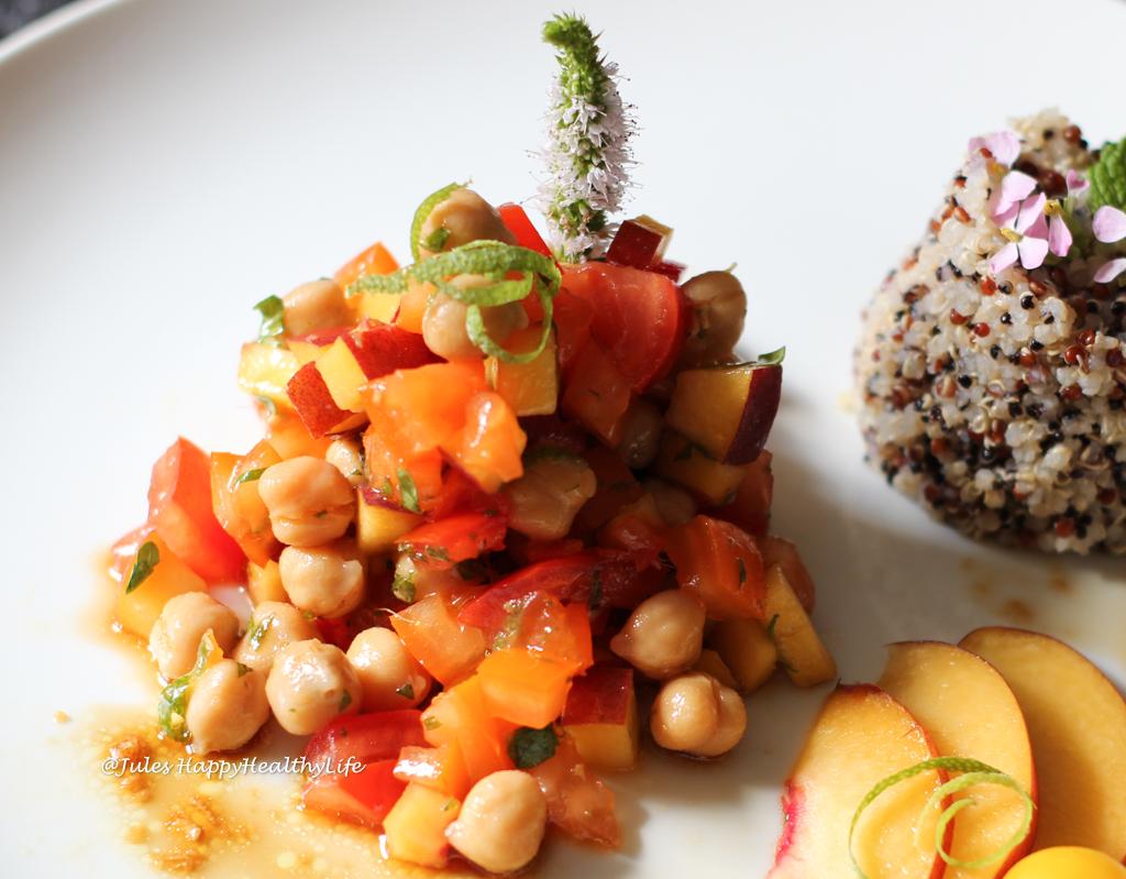 Geschmacksexplosion beim Kichererbsen Pfirsich Salat mit Ingwer Dressing