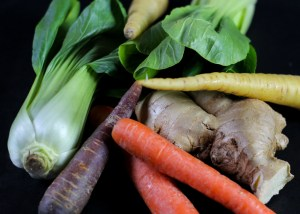 Fresh Pak Choy, Carrots and Ginger