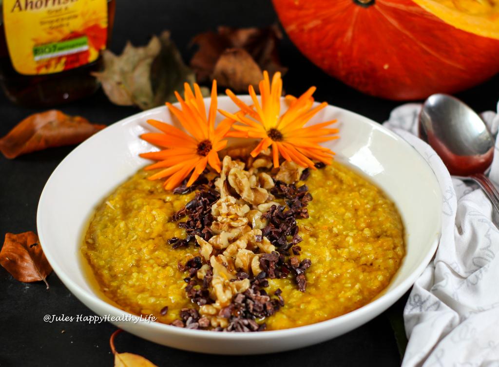 Herbst Rezept für glutenfreien Kürbis Buchweizen Porridge
