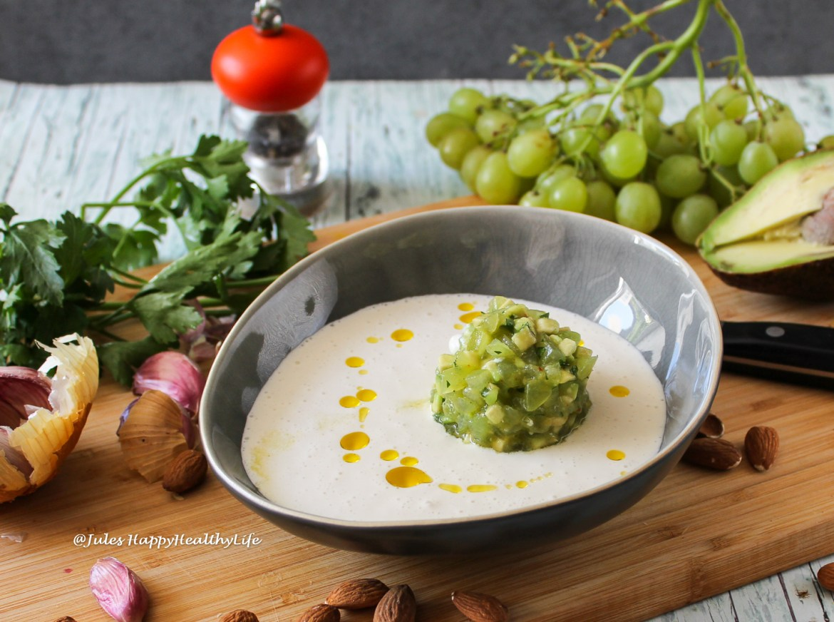 Quick and easy prepared is almond gazpacho ajo blanco with grapes avocado tartare