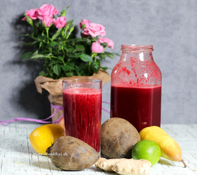 Den Detox Rote Bete Ingwer Saft könnt ihr gut für eine Detox Saftkur nutzen.