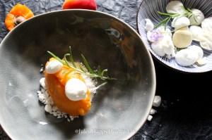 Aprikosen Rosmarin Sorbet mit Ziegenkäse Meringue