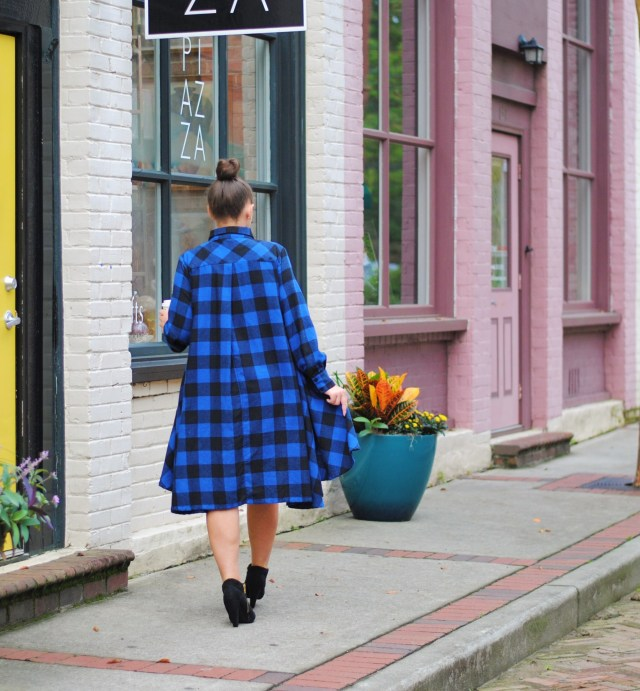Blue and Black Buffalo Plaid Dress and black booties