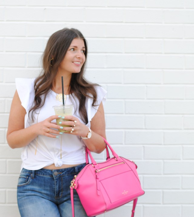 White and Denim Uniform with a POP of Pink #classicchic