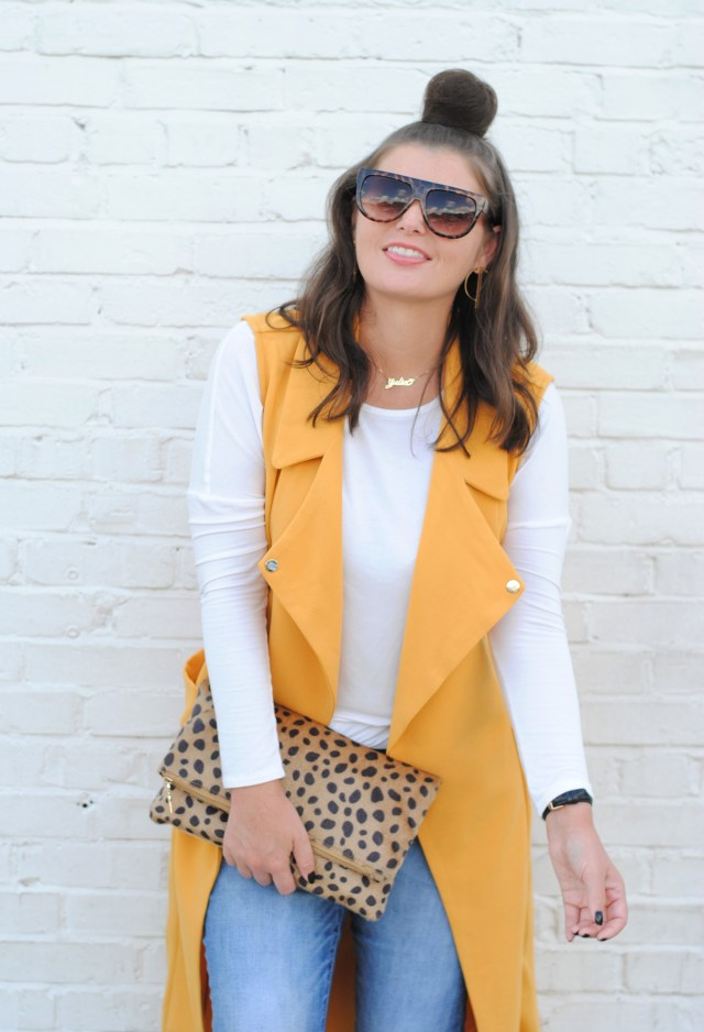 Fall Outfit with a Yellow Duster Vest