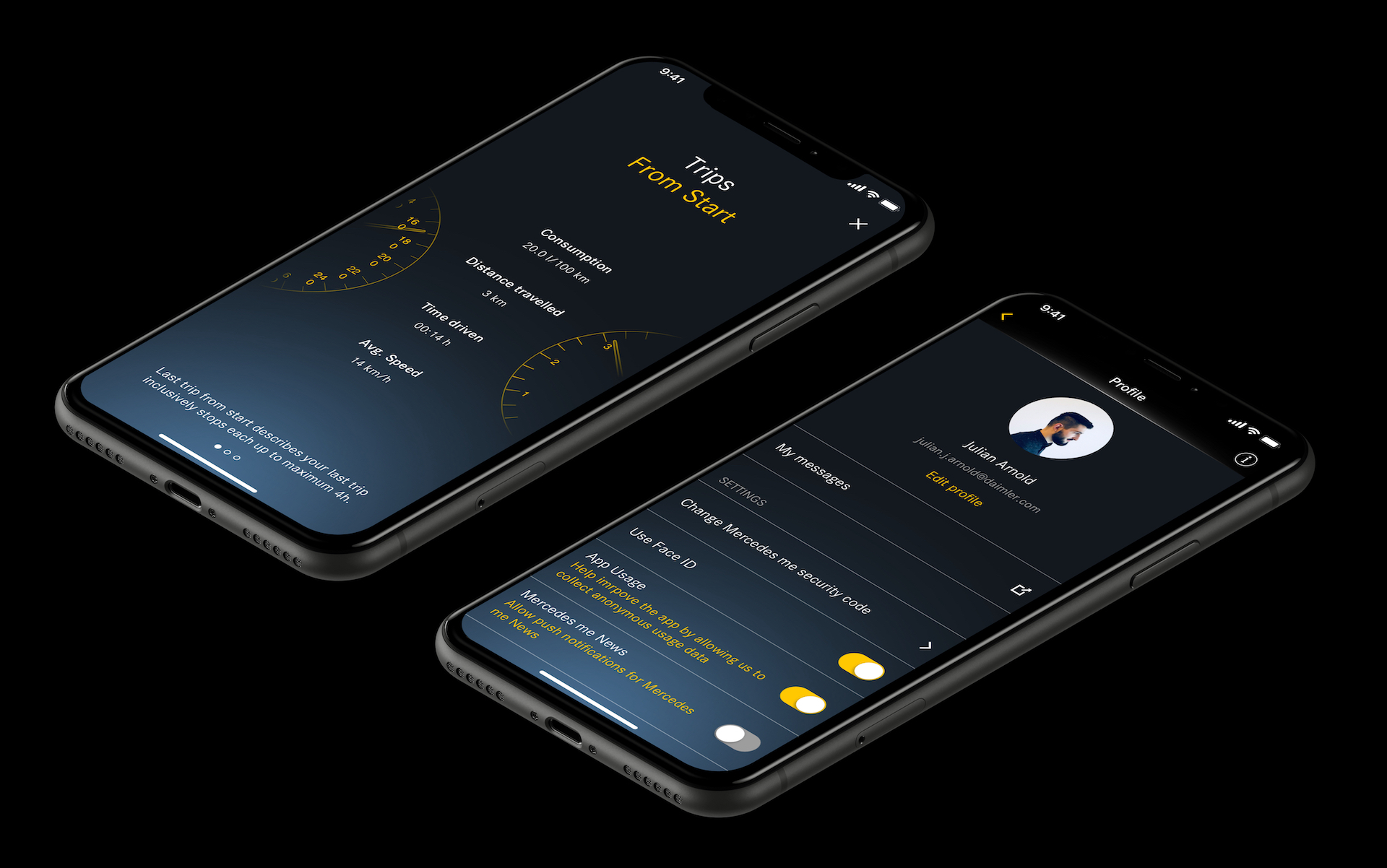 Mercedes me App Trips and Profile Mockup iPhone XR by Julian Arnold