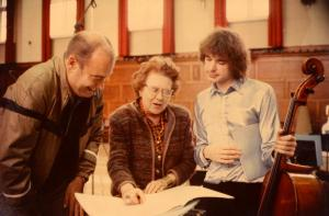 Julian with Ursula Vaughan Williams and conductor Vernon Handley