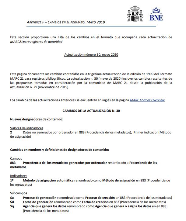 Actualización 30 Formato MARC 21 para Registros de Autoridad