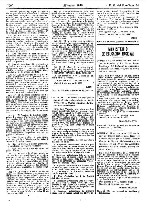 BOE Orden 1950 festividad San Benito archiveros, bibliotecarios y arqueólogos