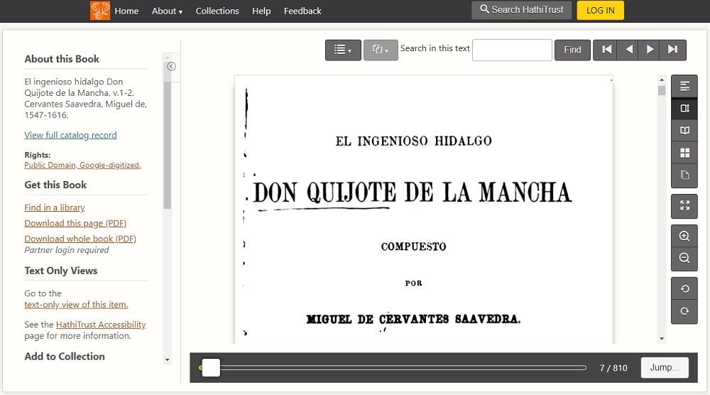 Biblioteca digital HathiTrust Quijote