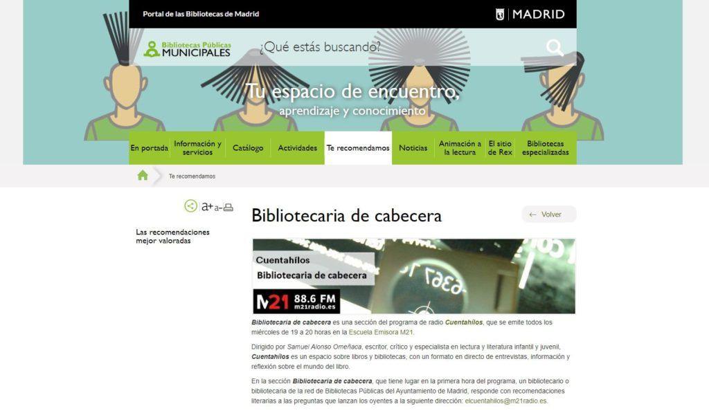 «Bibliotecaria de cabecera», sección del programa de radio Cuentahílos