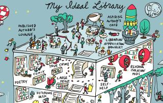 Cabecera my ideal library Grant Snider