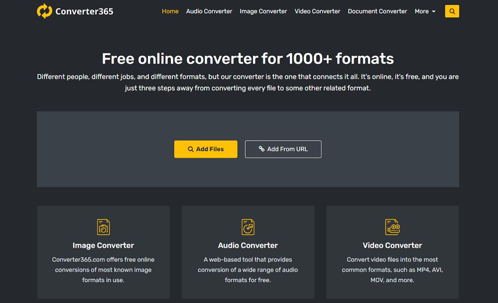 Conversor archivos online Converter365