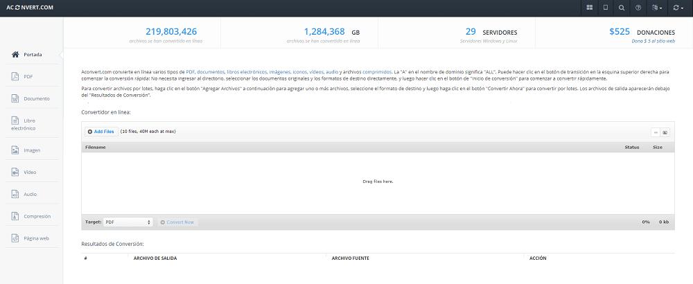 Conversor online de archivos Aconvert