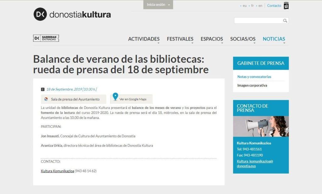 Convocatoria de prensa publicada en la página de Cultura del Ayuntamiento San Sebastián